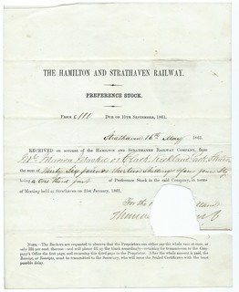 Hamilton and Strathaven Railway Receipt for Preference Stock 1861 | by ian.dinmore