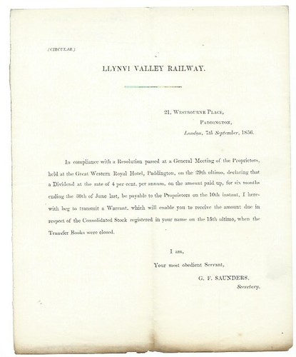 Llynvi Valley Railway dividend warrant letter 1856   by ian.dinmore