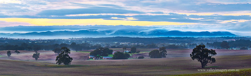 morning panorama fog sunrise south australia farmland barossa sandycreekpanorama