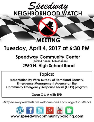 NEIGHBORHOOD WATCH-MEETING FLYER-APRIL 2017 | by speedwaycommunitypolicing