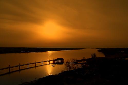 wisła vistula view landscape pier water sunset reflections river spring płock polska poland