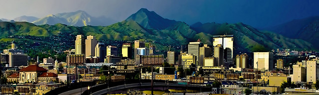 Panoramic view of the skyline of Salt Lake City, Utah, U.S.A. with the mountains in the background