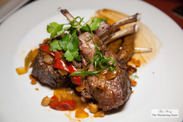 Evening's special - Moroccan inspired dish of roast rack of lamb, couscous, bell peppers, and merguez saisages