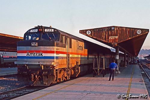 amtrak amtk california laupt losangeles ge generalelectric sunset sunsetroute sunsetlimited passengertrain railroads trains p30ch kodachrome