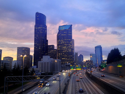Seattle Sunset:  Looking North on the Yesler Way/I-5 Bridge | by JoeInSouthernCA