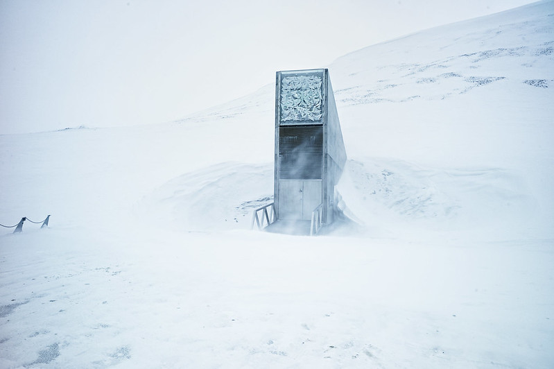 The portal building and the entrance of the Seed Vault on a winterly day
