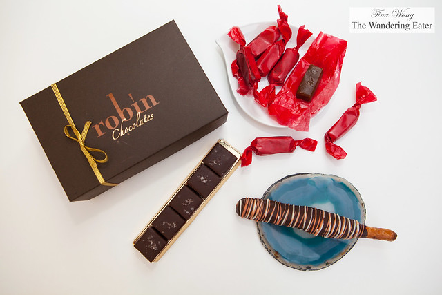 Robin Chocolates - Bonbons, Molasses salted caramels, and Chocolate caramel lollipops