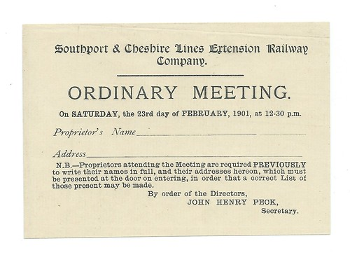 Southport & Cheshire Lines Extension Railway Notice of Meeting 1901 | by ian.dinmore