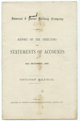 Somerset & Dorset Railway Statement of Accounts 1887 | by ian.dinmore