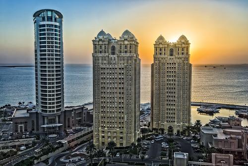morning sea skyscraper sunrise hotel gulf desert good hilton arabian doha qatar