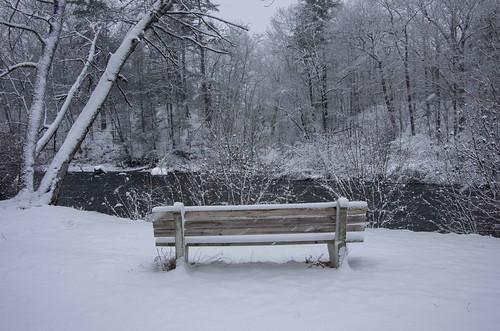 kennebunk maine mousamriver rogerspark bench snow winter