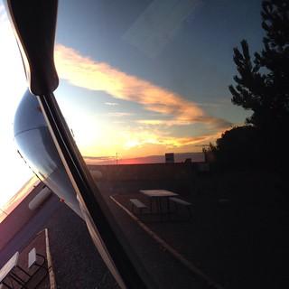 Sunrise on the Silverado in the Arizona desert. #arizona #airstream #airstreamdc2cali #vintage #chevrolet #silverado