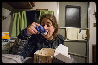 Supper of Champions (Tara Eating Icecream With Painter's Tape-Bandaged Fingers) | by goingslowly