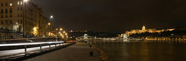 Pest wharf panorama at night with the Chain Bridge and the Buda castle