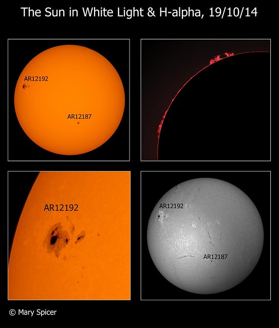 The Sun in White Light & H-alpha 19/10/14