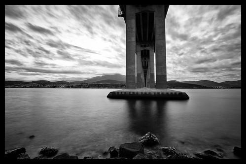 bridge clouds river concrete derwent structure tasmania hobart beneath derwentriver tasmanbridge