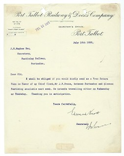 Port Talbot Railway & Docks Letter 1898 | by ian.dinmore