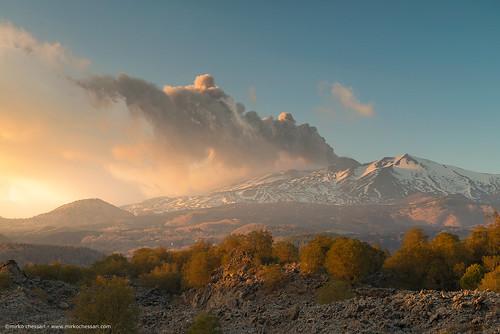 nicolosi sicilia italy it etna sunset volcano mountains landscape nature eruption sicily