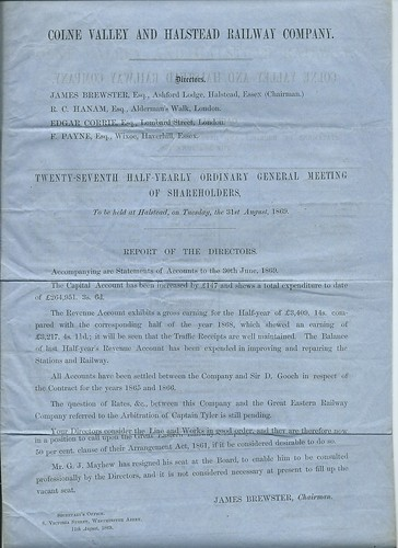 Colne Valley and Halstead Railway General Meeting Report 1869 | by ian.dinmore