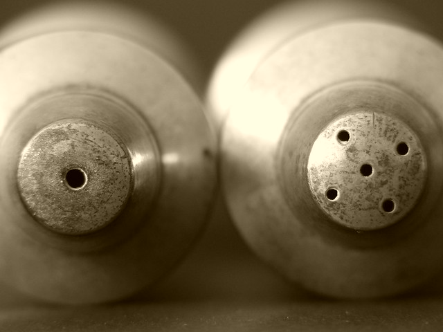Vintage salt and pepper pots (sepia)