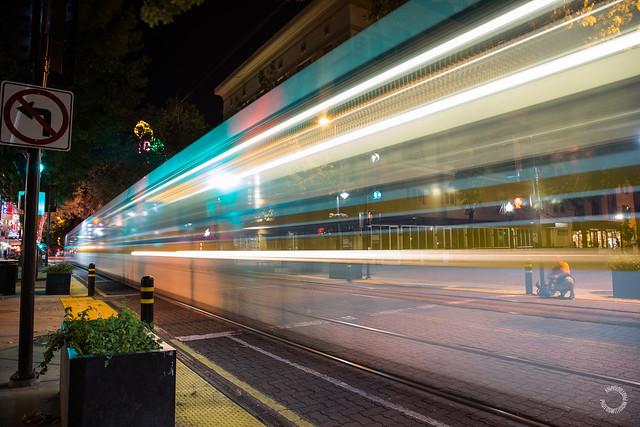 K Street Sacramento Light rail at night