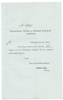 Edinburgh, Perth and Dundee Railway Interest Return 1853   by ian.dinmore