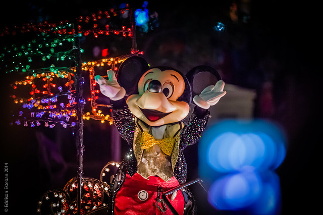 Mickey high atop his Main Street Electrical Parade Float