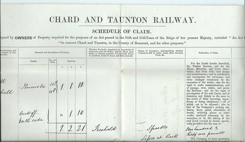 Chard and Tuanton Railway Schedule of Claim 1863 | by ian.dinmore