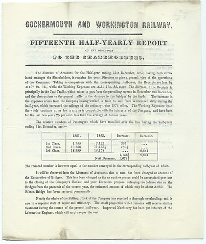 Cockermouth and Workington Railway Dirctors half yearly report 1852 | by ian.dinmore