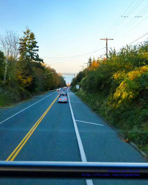 The View Out the Community Transit Double Tall Down the Highway to Mukilteo