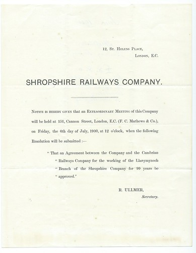 Shropshire Railways Notice of agreement for the Cambrian Railways to work the Llanynynech brach for 99 years dated 1900 | by ian.dinmore