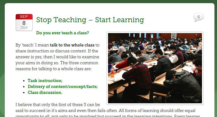 Stop teaching Start learning