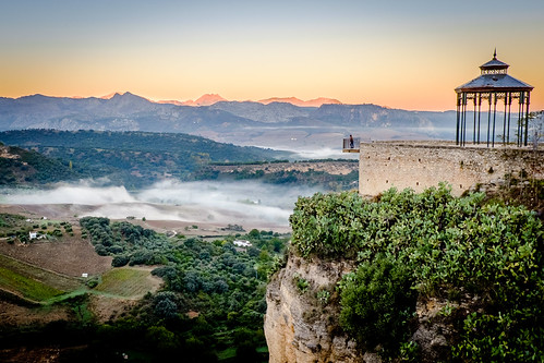 man fog landscape view andalucia ronda elevated mountaints
