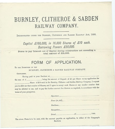 Burnley, Clitheroe & Sabden Railway application for shares for this unbuilt railway dated 1886 | by ian.dinmore