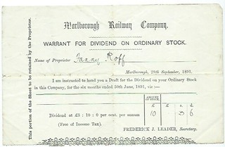 Marlborough Railway Dividend Warrant 1891 | by ian.dinmore