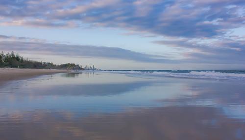 sunset seascape beach reflections australia goldcoast burleighheads allieca