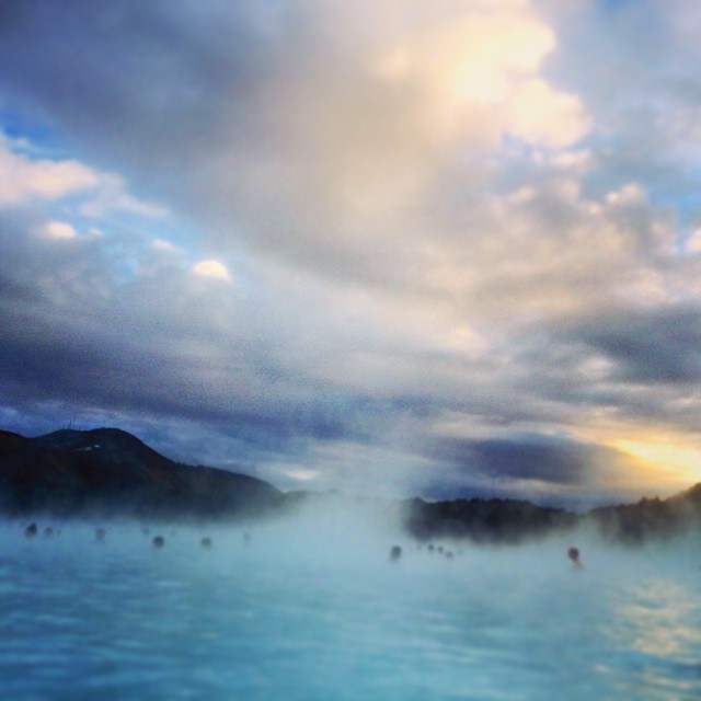 Sunset at Blue Lagoon - don't want to say goodbye Iceland but have to say goodbye to this amazing beautiful country #lagoon #light #landscape #sunlight #sunset #sands #rock #reflections #blue #water #waterscape #iphone #iceland #steam #nature #mist #mount