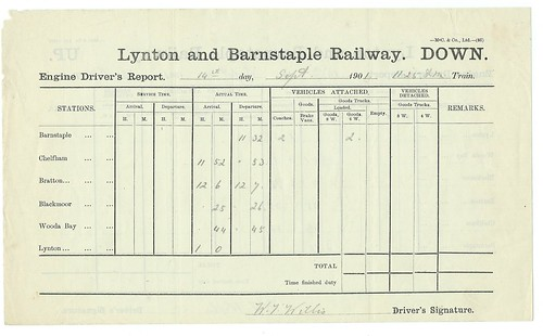 Lynton and Barnstaple Railway Engine Driver's Report 1901 | by ian.dinmore