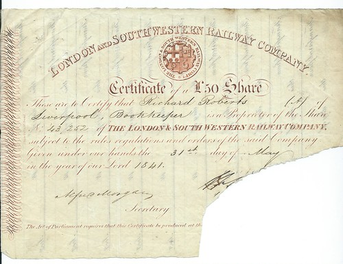 London and South Western Railway share certificate 1841 | by ian.dinmore