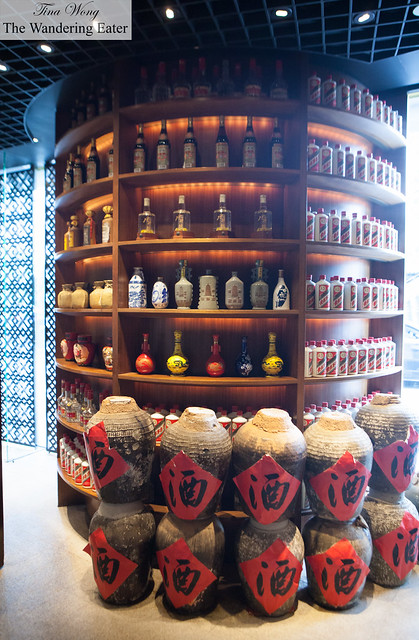 Bottles and ceramic vessels of Chinese spirits