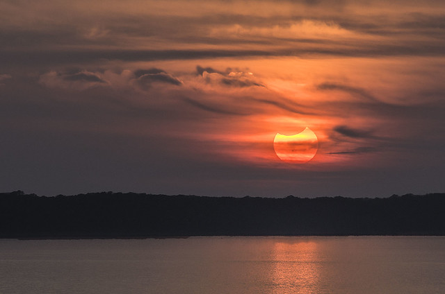 Partial Solar Eclipse at Sunset 141023 Clinton Lake, Lawrence KS