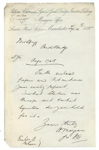 Oldham, Ashton-under-Lyne and Guide Bridge Junction Railway letterhead 1875 | by ian.dinmore