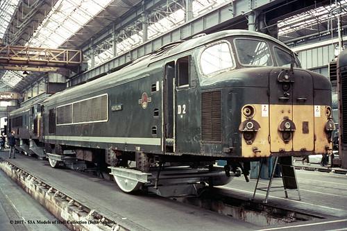 britishrail sulzer type4 class44 peak d2 helvellyn 44002 class45 diesel derby works derbyshire train railway locomotive railroad
