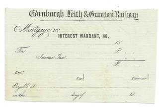 Edinburgh Leith and Granton Railway blank interest warrant undated   by ian.dinmore