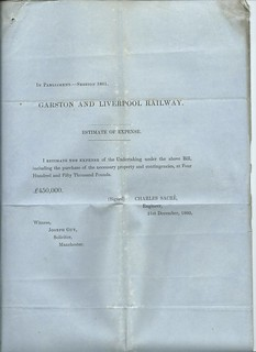 Garston and Liverpool Railway Estimate of Expense 1860 | by ian.dinmore