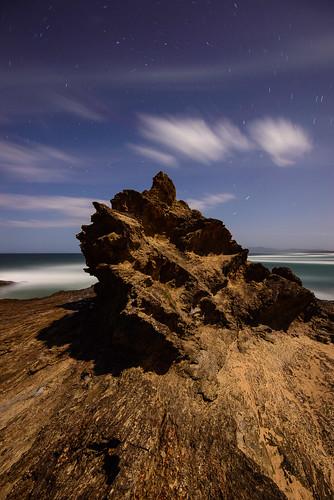 longexposure sky rock night clouds stars australia newsouthwales moonlight nambuccaheads