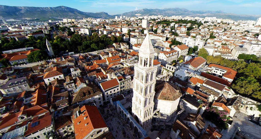 Aerial photo of St Duje cathedral in Split, Croatia