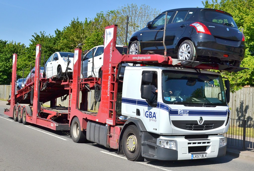 Renault Premium 450 18 Car Transporter Seen On The A48 In