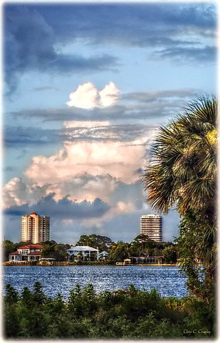 twinpeaks cloudformation clouds sky tropical palmtree scenic river halifaxriver coast daytonabeachflorida hollyhillflorida ormondbeachflorida water landscape