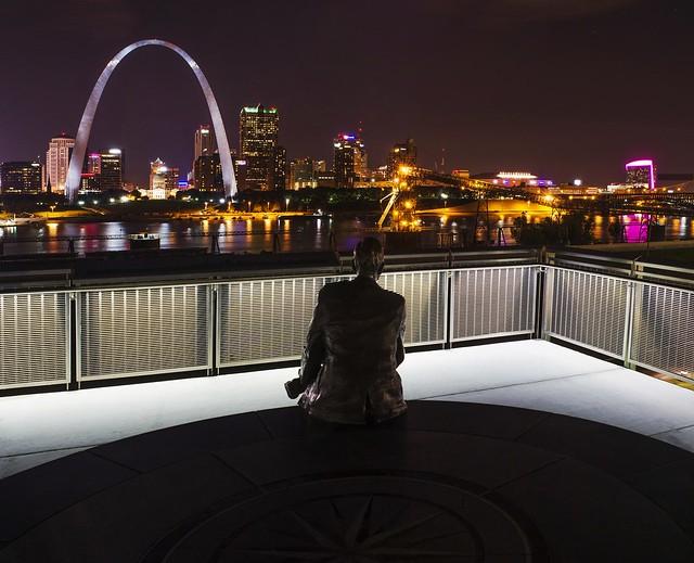 Malcom Martin Statue admiring the St. Louis skyline